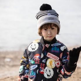 STAR WARS BOYS DISNEY HAT&GLOVES - GREY (삭샵 힛홀더스 아동 키즈 스타워즈 디즈니 겨울 보온 방울모자 장갑 세트)