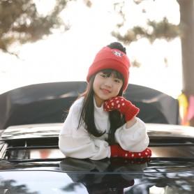 MINNIE KIDS DISNEY HAT&GLOVES (삭샵 힛홀더스 아동 키즈 미니마우스 디즈니 겨울 보온 방울모자 장갑 세트)