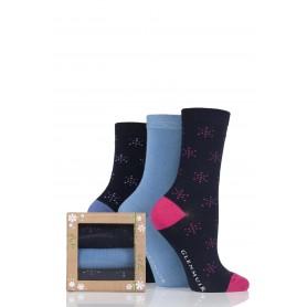 [3pr] W. BAMBOO SOCKS GIFT BOX (삭샵 글렌뮤어 여성 눈송이 패턴 뱀부양말 기프트 선물 세트)