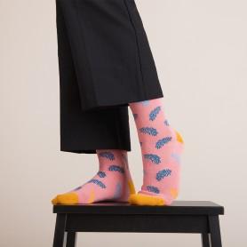 [3pr] W. LEAF PATTERN BAMBOO SOCKS - BLACK (삭샵 와일드핏 여성 나뭇잎 리프 패턴 뱀부 패션 양말)