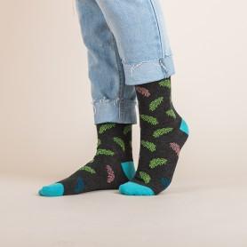 [3pr] W. LEAF PATTERN BAMBOO SOCKS - CHARCOAL (삭샵 와일드핏 여성 나뭇잎 리프 패턴 뱀부 패션 양말)