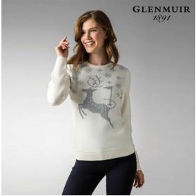 g.Hind 여성 다이아몬드 사슴 포인트 글렌뮤어 크리스마스 골프 니트 스웨터