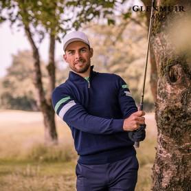 [21S/S] g.Balloch 글렌뮤어 남성 골프 배색 포인트 집넥 코튼 니트