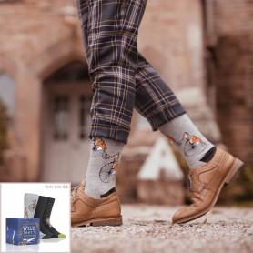 [3pr] M. PENNY FARTHING FOX GIFT BOX (삭샵 와일드핏 남성 여우 패턴 패션양말 선물 세트)