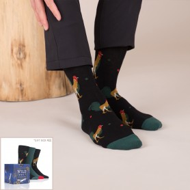 [3pr] M. ROOSTER GIFT BOX SET (삭샵 와일드핏 남성 수탉 패턴 패션양말 선물 세트)