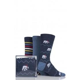 [3pr] M. POLAR BEAR GIFT BOX (삭샵 와일드핏 남성 북극곰 패턴 패션양말 선물 세트)