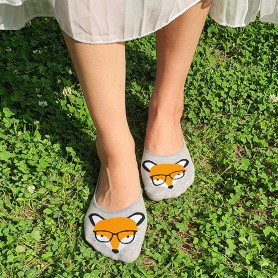 [2pr] W. ANIMAL NON-SLIP SHOE LINER (삭샵 여성 논슬립 동물 여우 패턴 슈라이너 덧신 양말) - FOX GLASSES