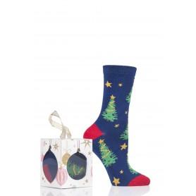 [1pr] W. XMAS TREE CUBE (삭샵 와일드핏 여성 크리스마스 트리 패턴 패션양말 선물 세트)
