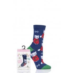 [1pr] W. XMAS POSTCARD BOX SANTA CAT (삭샵 와일드핏 여성 고양이 산타 캣 패턴 패션양말 선물 세트)