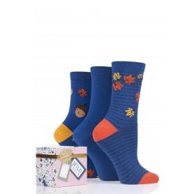 [3pr] W. ACORN/LEAVES GIFT BOX (삭샵 와일드핏 여성 도토리 패턴 패션양말 선물 세트)
