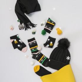 [3pr] W. BOBBLE HATS PATTERN SOCKS (삭샵 와일드핏 여성 털모자 패턴 패션양말)
