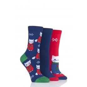 [3pr] W. CAT IN XMAS JUMPER XMAS SOCKS (삭샵 와일드핏 여성 산타 고양이 패턴 패션양말)