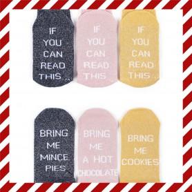 [3pr] W. XMAS COTTON SOCKS - If You Can Read This… (삭샵 와일드핏 여성 크리스마스 레터링 패션양말)