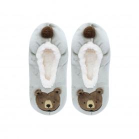 [1pr] W. BROWN BEAR FLUFFY SLIPPER (삭샵 와일드핏 여성 겨울 곰 실내 털 슬리퍼)